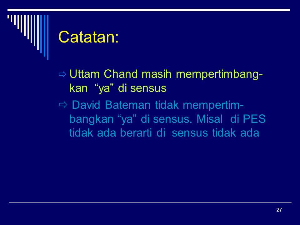"""27 Catatan:  Uttam Chand masih mempertimbang- kan """"ya"""" di sensus  David Bateman tidak mempertim- bangkan """"ya"""" di sensus. Misal di PES tidak ada bera"""