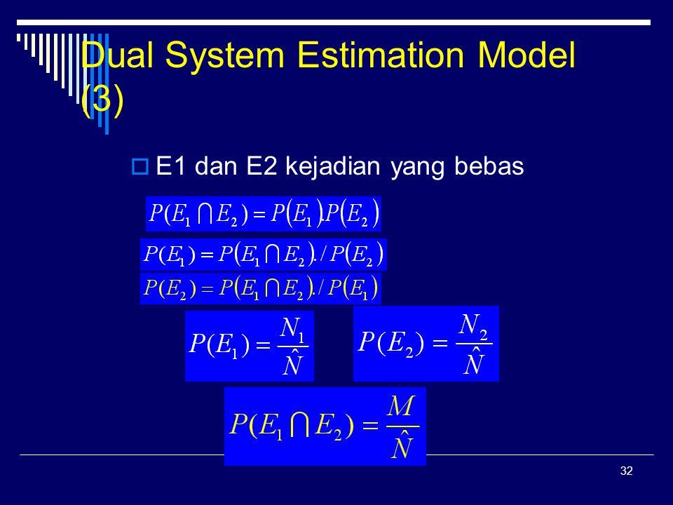 32 Dual System Estimation Model (3)  E1 dan E2 kejadian yang bebas