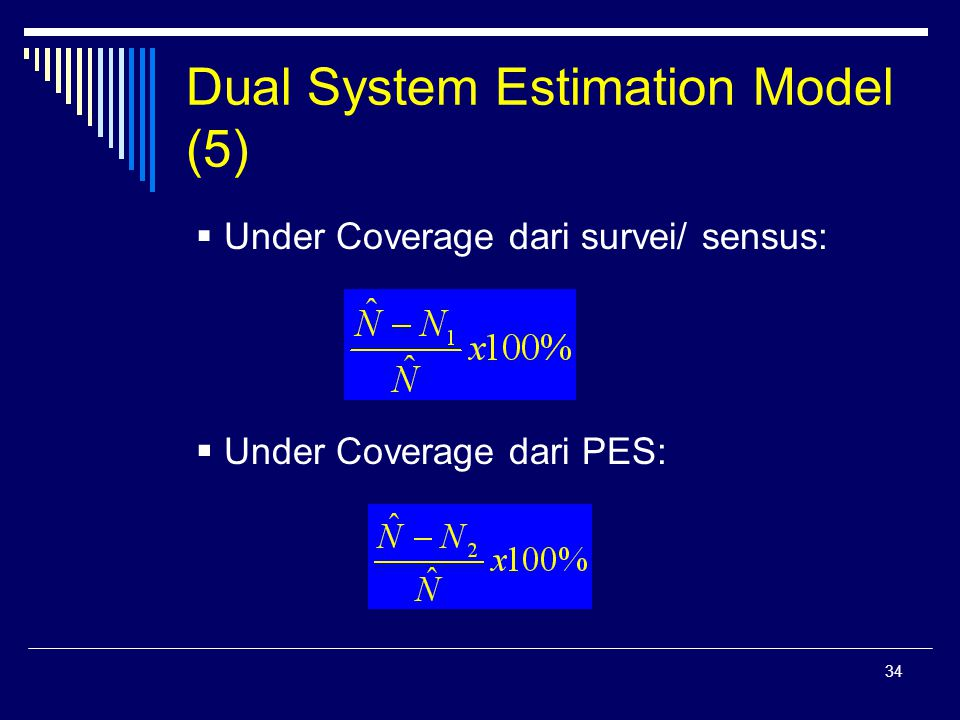 34 Dual System Estimation Model (5)  Under Coverage dari survei/ sensus:  Under Coverage dari PES: