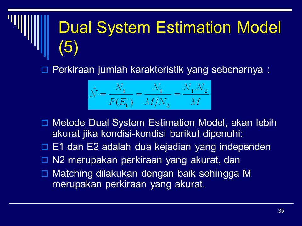 35 Dual System Estimation Model (5)  Perkiraan jumlah karakteristik yang sebenarnya :  Metode Dual System Estimation Model, akan lebih akurat jika kondisi-kondisi berikut dipenuhi:  E1 dan E2 adalah dua kejadian yang independen  N2 merupakan perkiraan yang akurat, dan  Matching dilakukan dengan baik sehingga M merupakan perkiraan yang akurat.