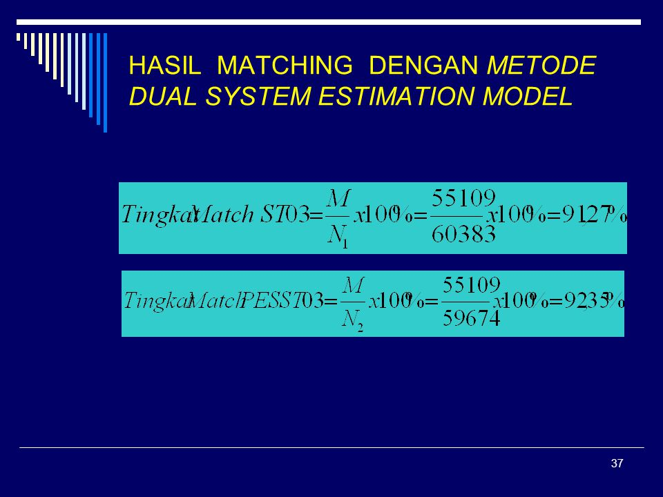 37 HASIL MATCHING DENGAN METODE DUAL SYSTEM ESTIMATION MODEL