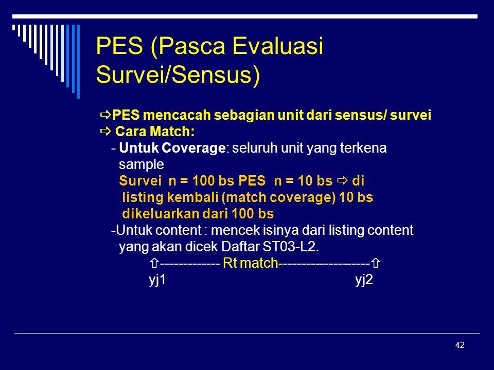 42 PES (Pasca Evaluasi Survei/Sensus)  PES mencacah sebagian unit dari sensus/ survei  Cara Match: - Untuk Coverage: seluruh unit yang terkena sampl