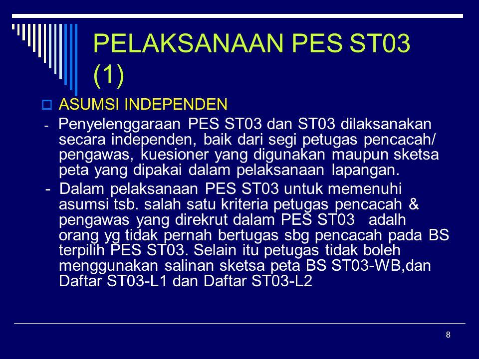 8 PELAKSANAAN PES ST03 (1)  ASUMSI INDEPENDEN - Penyelenggaraan PES ST03 dan ST03 dilaksanakan secara independen, baik dari segi petugas pencacah/ pengawas, kuesioner yang digunakan maupun sketsa peta yang dipakai dalam pelaksanaan lapangan.