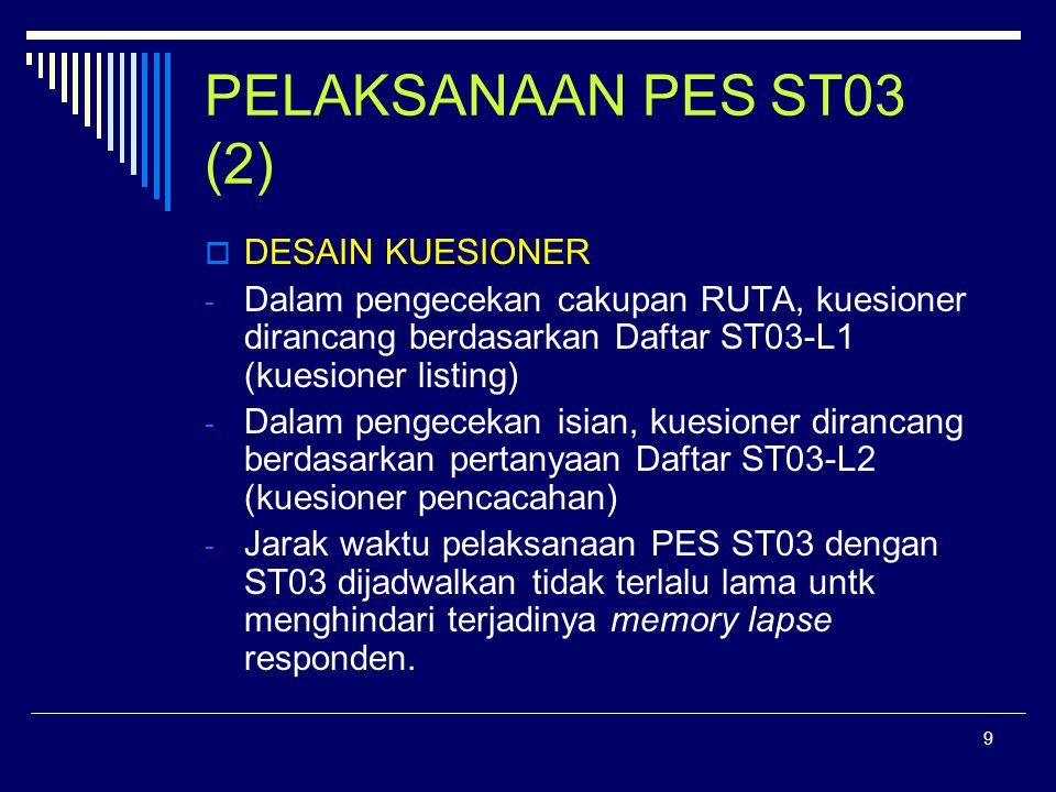 9 PELAKSANAAN PES ST03 (2)  DESAIN KUESIONER - Dalam pengecekan cakupan RUTA, kuesioner dirancang berdasarkan Daftar ST03-L1 (kuesioner listing) - Dalam pengecekan isian, kuesioner dirancang berdasarkan pertanyaan Daftar ST03-L2 (kuesioner pencacahan) - Jarak waktu pelaksanaan PES ST03 dengan ST03 dijadwalkan tidak terlalu lama untk menghindari terjadinya memory lapse responden.