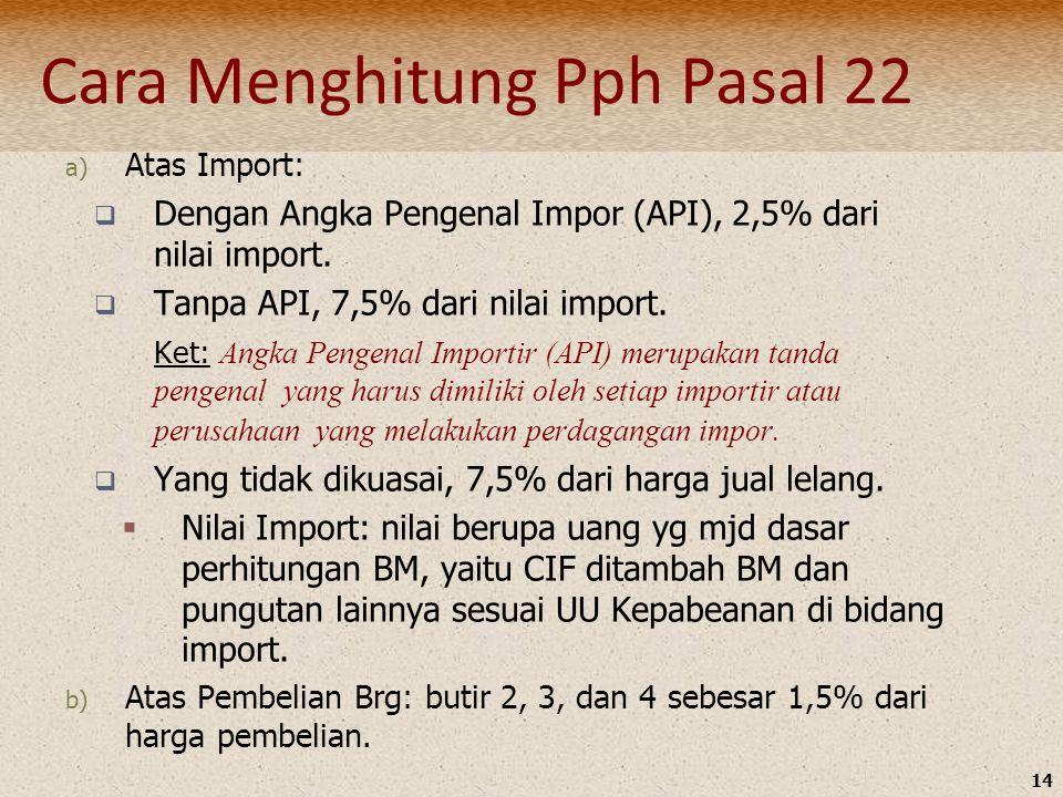 14 a) Atas Import:  Dengan Angka Pengenal Impor (API), 2,5% dari nilai import.  Tanpa API, 7,5% dari nilai import. Ket: Angka Pengenal Importir (API