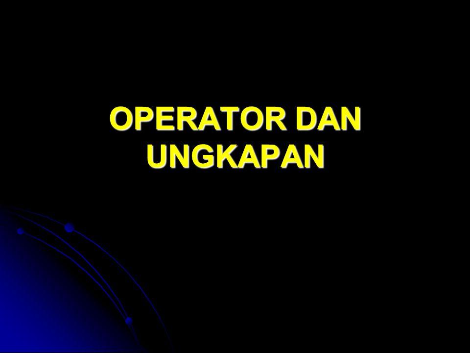 Pengantar Operator dan Ungkapan Operator merupakan simbol yang biasa dilibatkan dalam program untuk melakukan suatu operasi atau manipulasi.