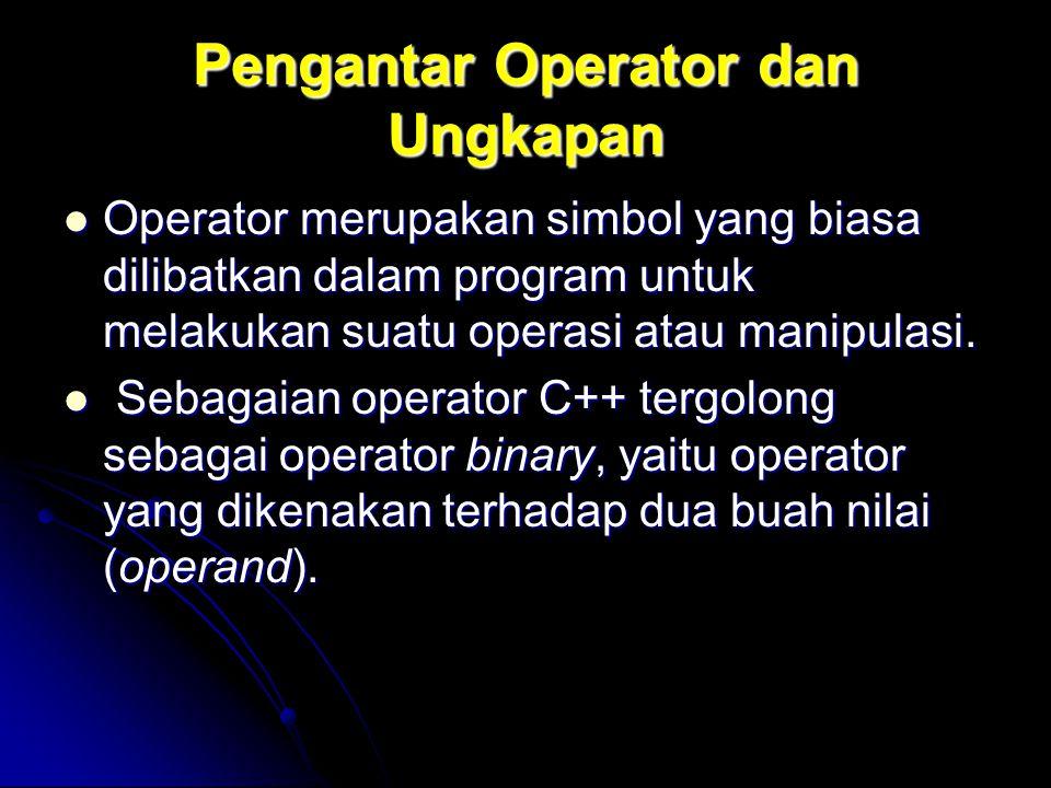 Pengantar Operator dan Ungkapan Operator merupakan simbol yang biasa dilibatkan dalam program untuk melakukan suatu operasi atau manipulasi. Operator