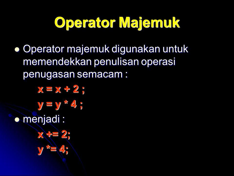 Operator Majemuk Operator majemuk digunakan untuk memendekkan penulisan operasi penugasan semacam : Operator majemuk digunakan untuk memendekkan penul