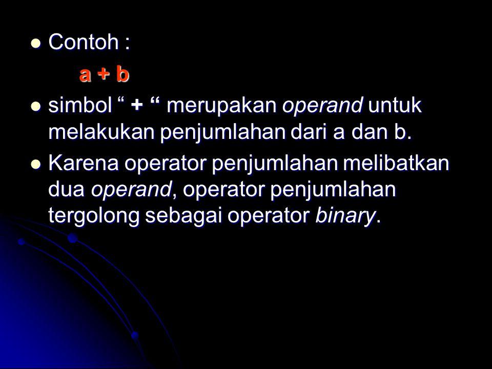 Contoh lain : Contoh lain : - c simbol – (minus) merupakan unary, karena hanya memiliki sebuah operand simbol – (minus) merupakan unary, karena hanya memiliki sebuah operand Ungkapan (ekspresi) dalam C++ dapat berupa : Ungkapan (ekspresi) dalam C++ dapat berupa : Pengenal Pengenal Konstanta Konstanta Diantara kombinasi elemen diatas denan operator Diantara kombinasi elemen diatas denan operator