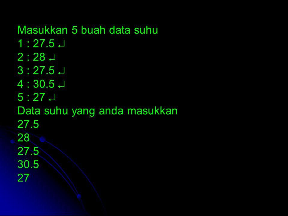 Masukkan 5 buah data suhu 1 : 27.5  2 : 28  3 : 27.5  4 : 30.5  5 : 27  Data suhu yang anda masukkan 27.5 28 27.5 30.5 27