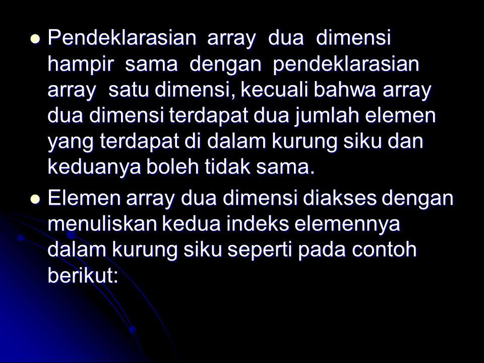 Pendeklarasian array dua dimensi hampir sama dengan pendeklarasian array satu dimensi, kecuali bahwa array dua dimensi terdapat dua jumlah elemen yang