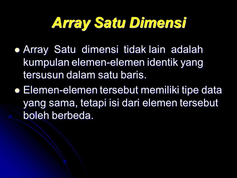 Array Satu Dimensi Array Satu dimensi tidak lain adalah kumpulan elemen-elemen identik yang tersusun dalam satu baris. Array Satu dimensi tidak lain a