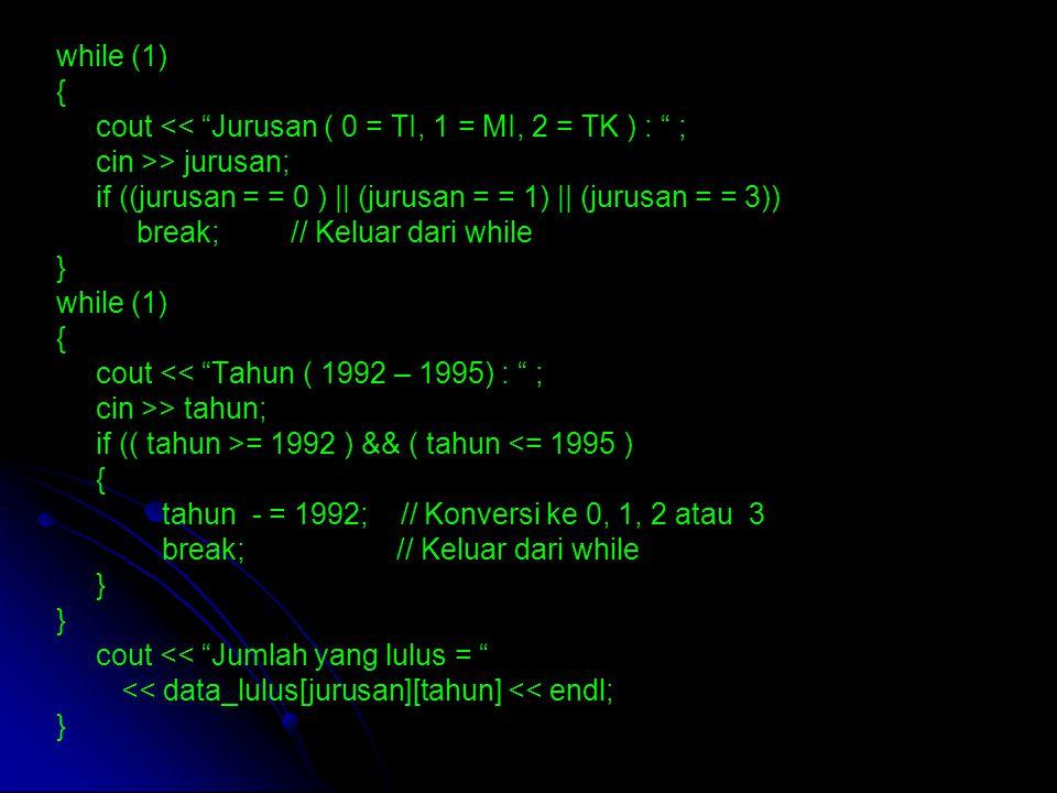 while (1) { cout << Jurusan ( 0 = TI, 1 = MI, 2 = TK ) : ; cin >> jurusan; if ((jurusan = = 0 ) || (jurusan = = 1) || (jurusan = = 3)) break; // Keluar dari while } while (1) { cout << Tahun ( 1992 – 1995) : ; cin >> tahun; if (( tahun >= 1992 ) && ( tahun <= 1995 ) { tahun - = 1992; // Konversi ke 0, 1, 2 atau 3 break; // Keluar dari while } cout << Jumlah yang lulus = << data_lulus[jurusan][tahun] << endl; }