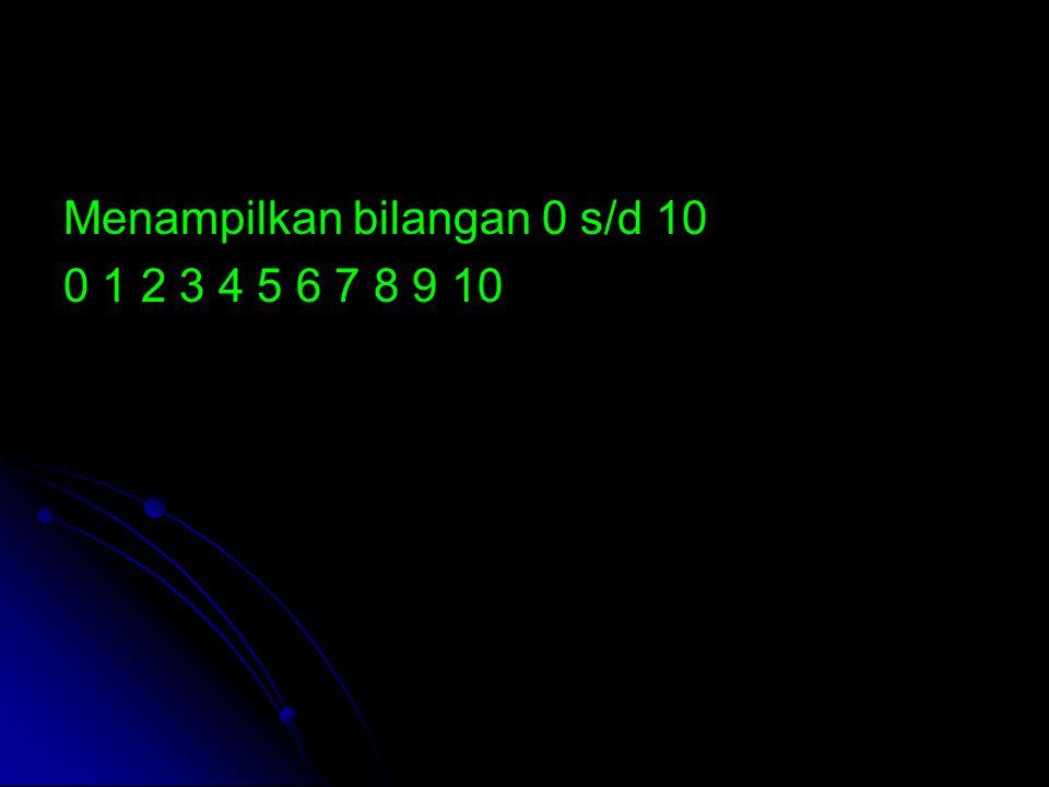 Menampilkan bilangan 0 s/d 10 0 1 2 3 4 5 6 7 8 9 10