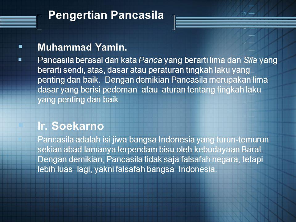 Pengertian Pancasila  Muhammad Yamin.