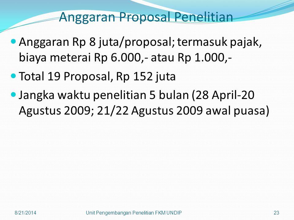 Anggaran Proposal Penelitian Anggaran Rp 8 juta/proposal; termasuk pajak, biaya meterai Rp 6.000,- atau Rp 1.000,- Total 19 Proposal, Rp 152 juta Jang