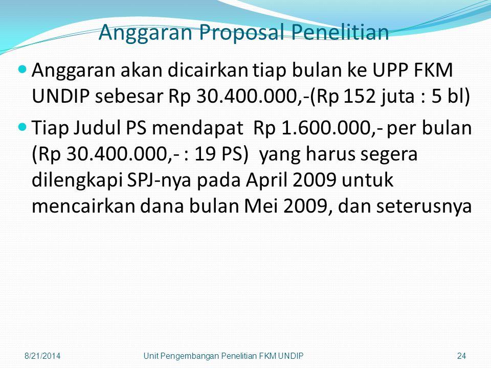 Anggaran Proposal Penelitian Anggaran akan dicairkan tiap bulan ke UPP FKM UNDIP sebesar Rp 30.400.000,-(Rp 152 juta : 5 bl) Tiap Judul PS mendapat Rp