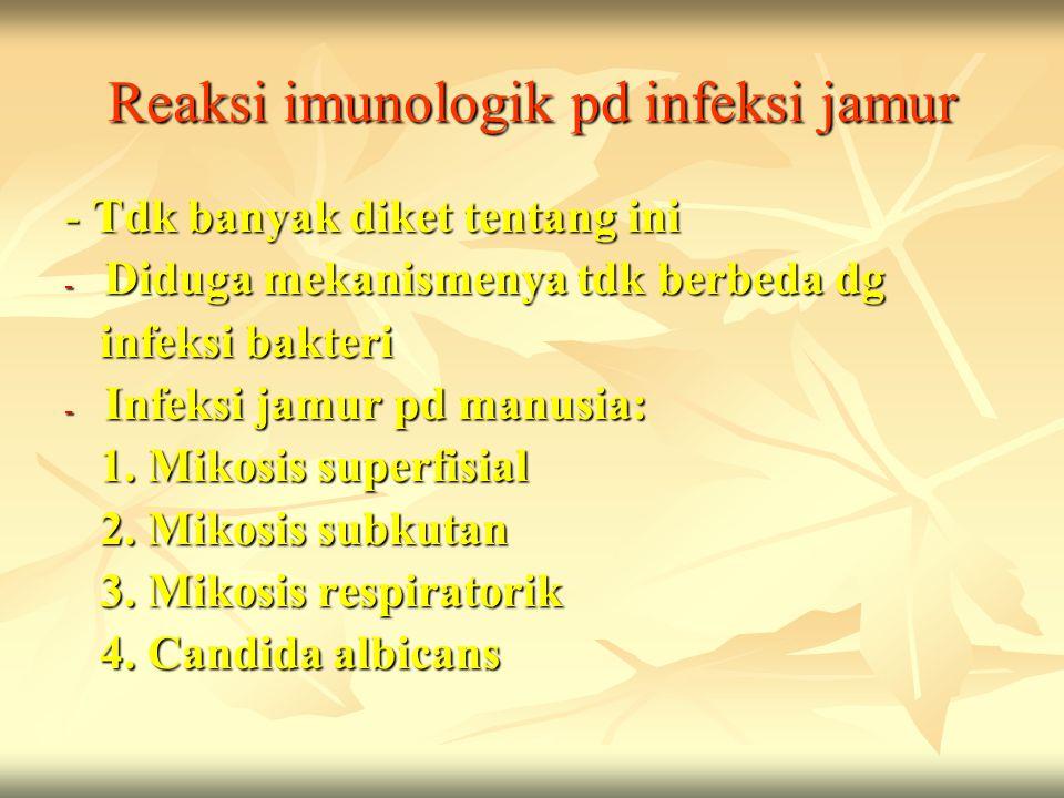 Reaksi imunologik pd infeksi jamur - Tdk banyak diket tentang ini - Diduga mekanismenya tdk berbeda dg infeksi bakteri infeksi bakteri - Infeksi jamur