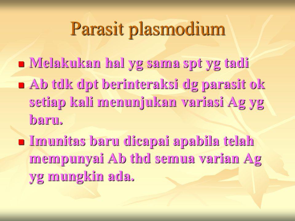 Parasit plasmodium Melakukan hal yg sama spt yg tadi Melakukan hal yg sama spt yg tadi Ab tdk dpt berinteraksi dg parasit ok setiap kali menunjukan va
