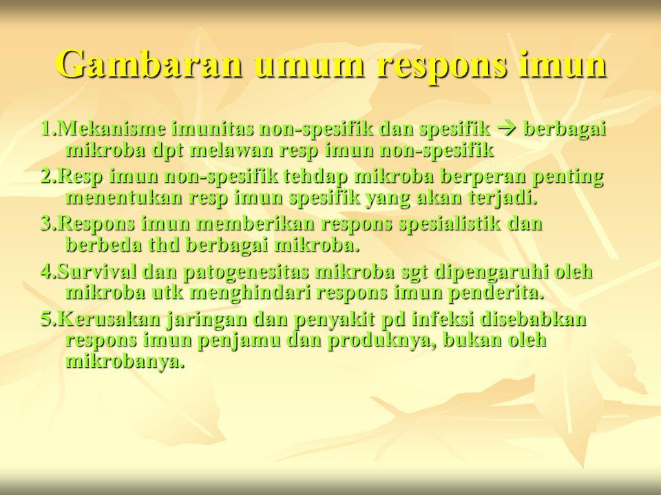Gambaran umum respons imun 1.Mekanisme imunitas non-spesifik dan spesifik  berbagai mikroba dpt melawan resp imun non-spesifik 2.Resp imun non-spesif