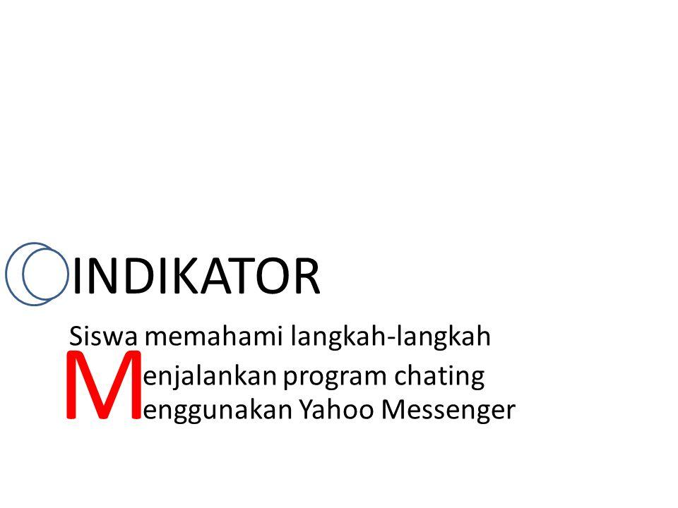 INDIKATOR enggunakan Yahoo Messenger enjalankan program chating Siswa memahami langkah-langkah M