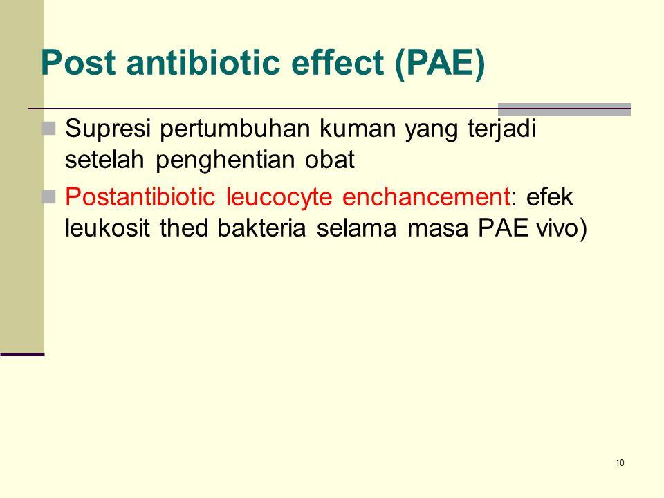 10 Supresi pertumbuhan kuman yang terjadi setelah penghentian obat Postantibiotic leucocyte enchancement: efek leukosit thed bakteria selama masa PAE