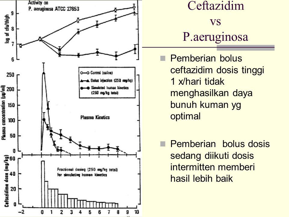 Ceftazidim vs P.aeruginosa Pemberian bolus ceftazidim dosis tinggi 1 x/hari tidak menghasilkan daya bunuh kuman yg optimal Pemberian bolus dosis sedang diikuti dosis intermitten memberi hasil lebih baik