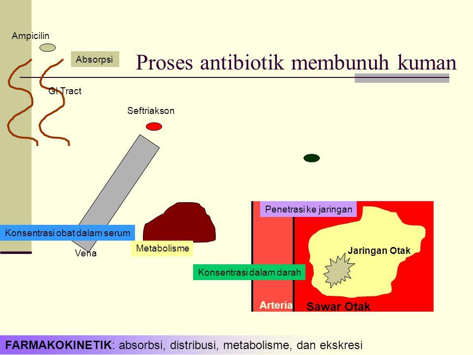Jaringan Otak Sawar Otak Arteria Proses antibiotik membunuh kuman GI Tract Ampicilin Seftriakson Absorpsi Konsentrasi obat dalam serum Metabolisme Konsentrasi dalam darah Penetrasi ke jaringan Vena FARMAKOKINETIK: absorbsi, distribusi, metabolisme, dan ekskresi