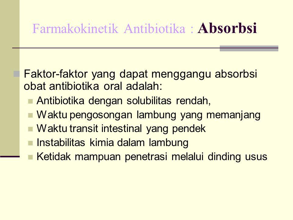 Farmakokinetik Antibiotika : Absorbsi Faktor-faktor yang dapat menggangu absorbsi obat antibiotika oral adalah: Antibiotika dengan solubilitas rendah,