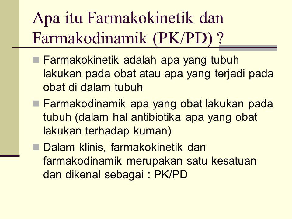 Apa itu Farmakokinetik dan Farmakodinamik (PK/PD) ? Farmakokinetik adalah apa yang tubuh lakukan pada obat atau apa yang terjadi pada obat di dalam tu