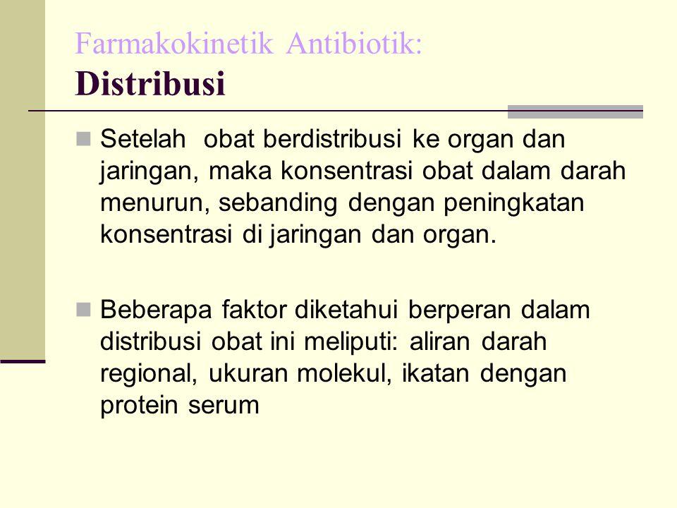 Farmakokinetik Antibiotik: Distribusi Setelah obat berdistribusi ke organ dan jaringan, maka konsentrasi obat dalam darah menurun, sebanding dengan peningkatan konsentrasi di jaringan dan organ.
