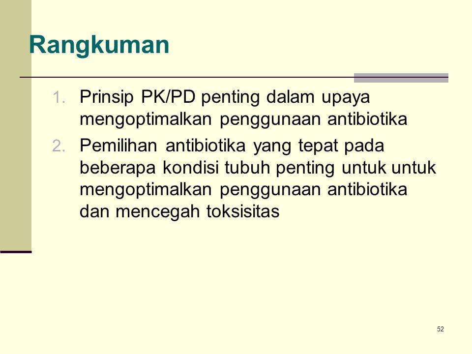 52 1. Prinsip PK/PD penting dalam upaya mengoptimalkan penggunaan antibiotika 2. Pemilihan antibiotika yang tepat pada beberapa kondisi tubuh penting