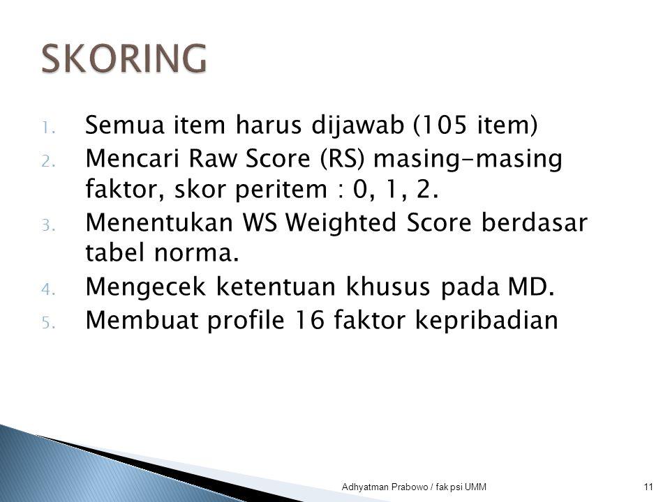 1. Semua item harus dijawab (105 item) 2. Mencari Raw Score (RS) masing-masing faktor, skor peritem : 0, 1, 2. 3. Menentukan WS Weighted Score berdasa