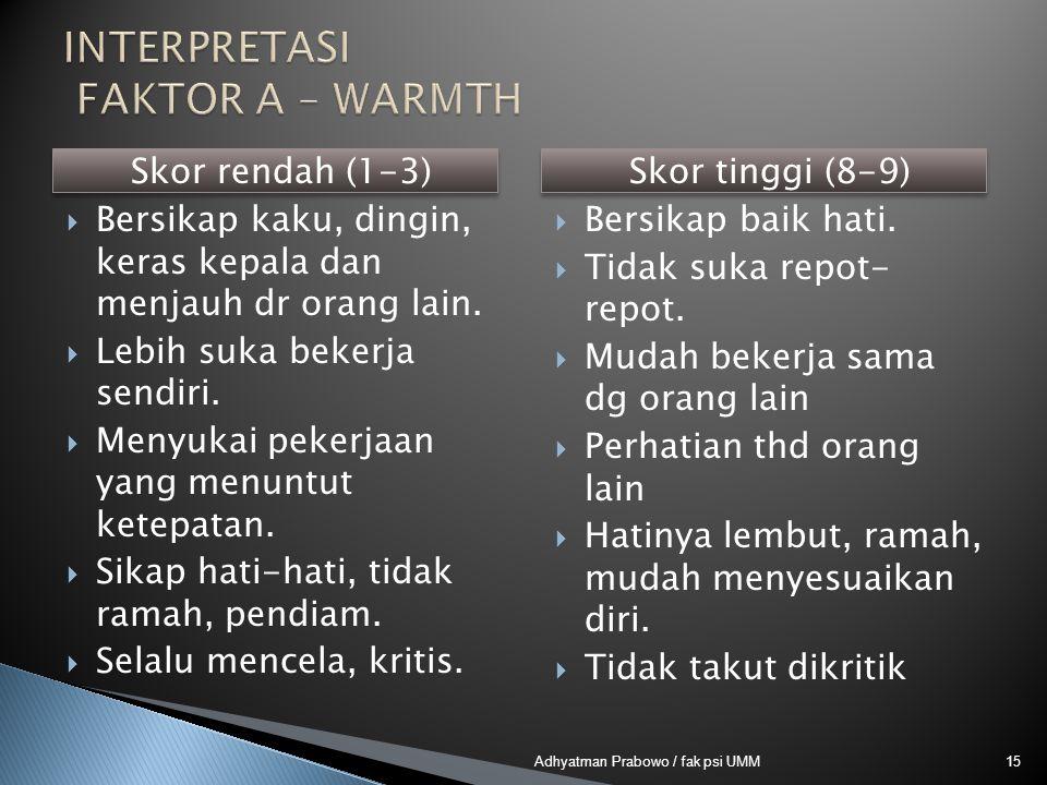 Skor rendah (1-3)  Bersikap kaku, dingin, keras kepala dan menjauh dr orang lain.