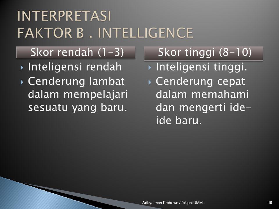 Skor rendah (1-3)  Inteligensi rendah  Cenderung lambat dalam mempelajari sesuatu yang baru. Skor tinggi (8-10)  Inteligensi tinggi.  Cenderung ce