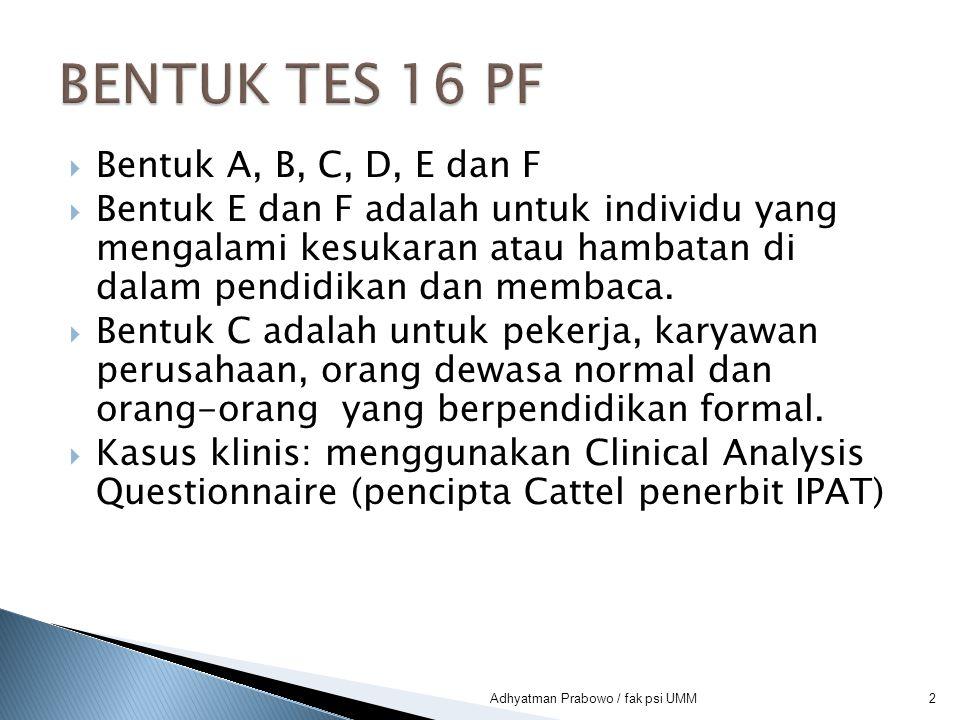Skor rendah (1-3)  Menaruh kepercayaan pada orang lain  Menerima semua keadaan Skor tinggi (8-10)  Syakwasangka pada orang lain  Sukar bertindak bodoh 23Adhyatman Prabowo / fak psi UMM