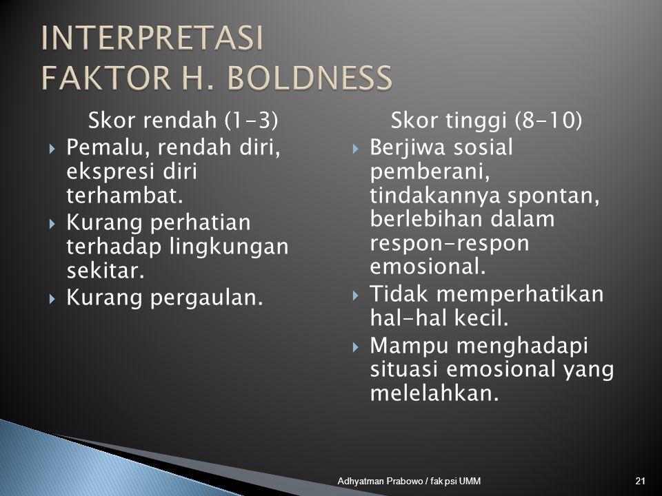 Skor rendah (1-3)  Pemalu, rendah diri, ekspresi diri terhambat.  Kurang perhatian terhadap lingkungan sekitar.  Kurang pergaulan. Skor tinggi (8-1