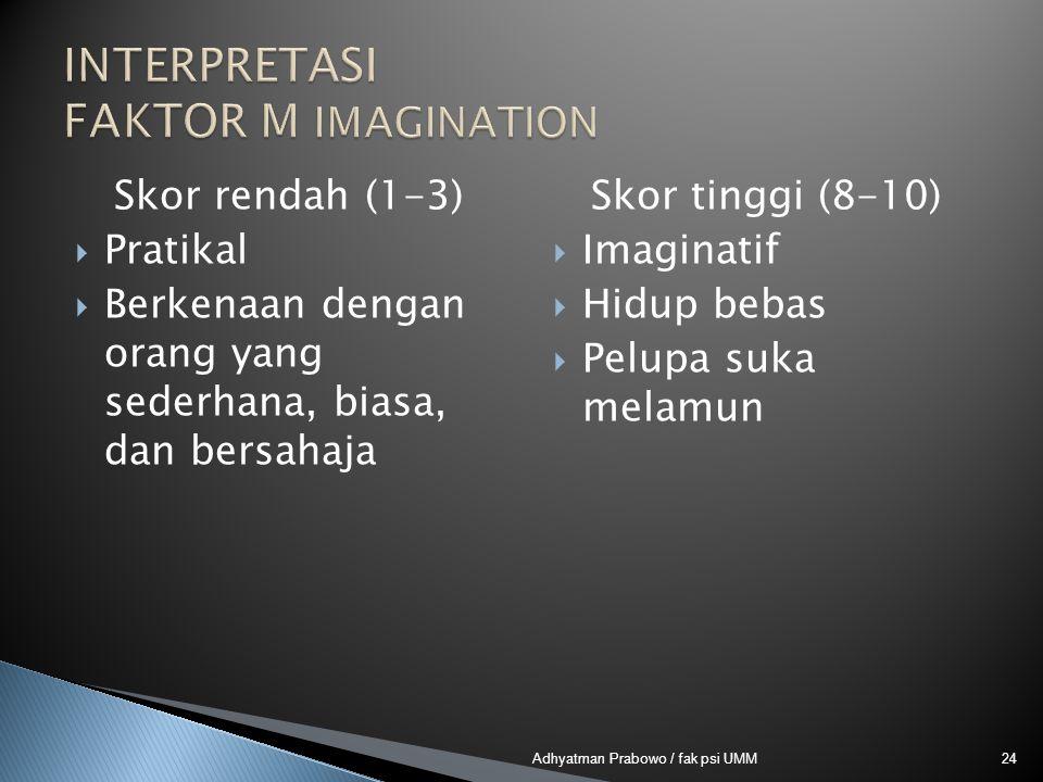Skor rendah (1-3)  Pratikal  Berkenaan dengan orang yang sederhana, biasa, dan bersahaja Skor tinggi (8-10)  Imaginatif  Hidup bebas  Pelupa suka melamun 24Adhyatman Prabowo / fak psi UMM