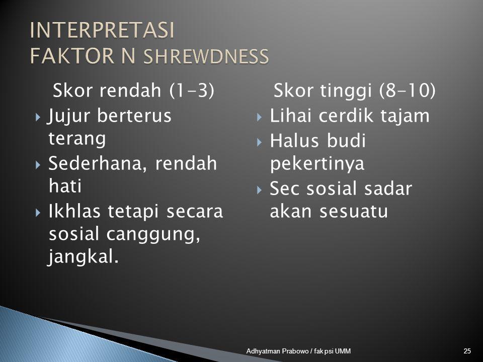 Skor rendah (1-3)  Jujur berterus terang  Sederhana, rendah hati  Ikhlas tetapi secara sosial canggung, jangkal. Skor tinggi (8-10)  Lihai cerdik