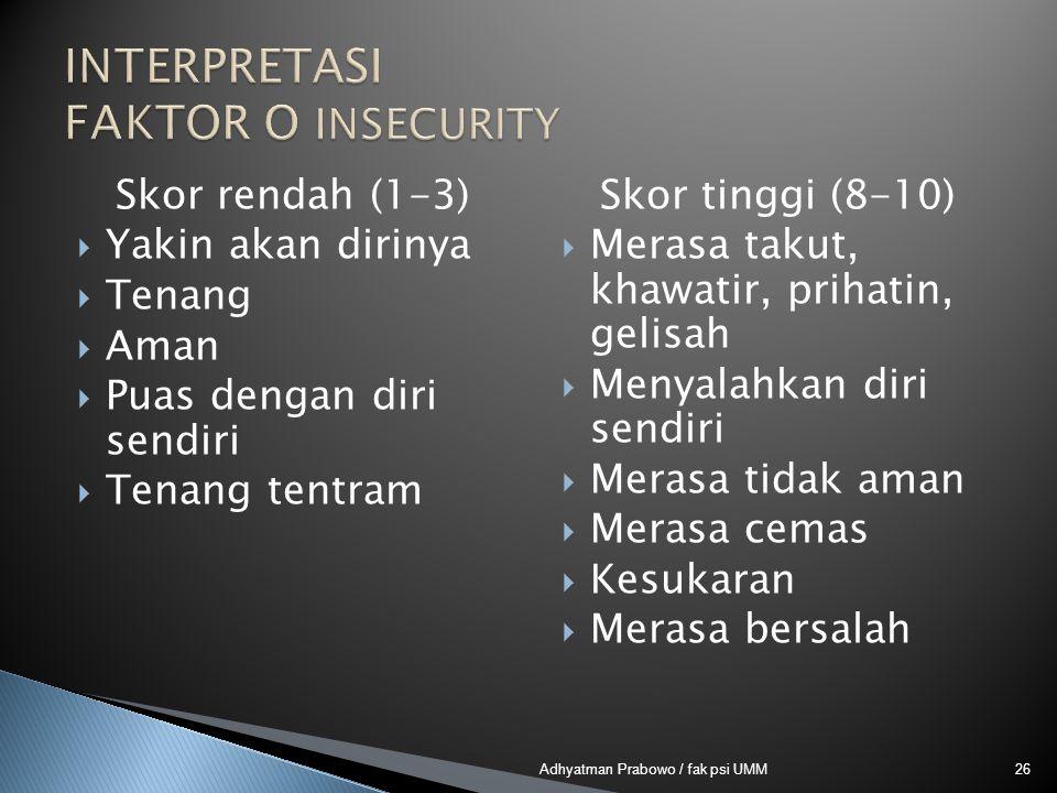 Skor rendah (1-3)  Yakin akan dirinya  Tenang  Aman  Puas dengan diri sendiri  Tenang tentram Skor tinggi (8-10)  Merasa takut, khawatir, prihatin, gelisah  Menyalahkan diri sendiri  Merasa tidak aman  Merasa cemas  Kesukaran  Merasa bersalah 26Adhyatman Prabowo / fak psi UMM