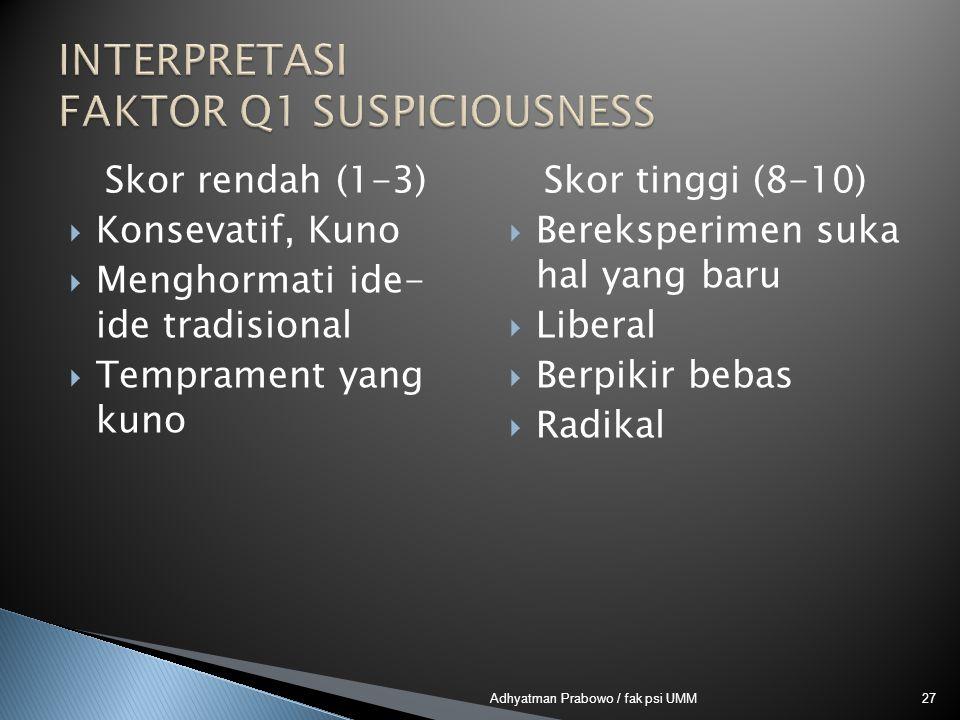 Skor rendah (1-3)  Konsevatif, Kuno  Menghormati ide- ide tradisional  Temprament yang kuno Skor tinggi (8-10)  Bereksperimen suka hal yang baru  Liberal  Berpikir bebas  Radikal 27Adhyatman Prabowo / fak psi UMM