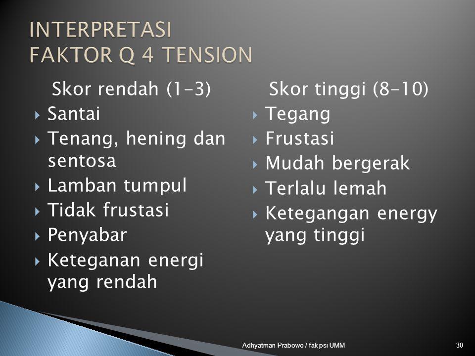 Skor rendah (1-3)  Santai  Tenang, hening dan sentosa  Lamban tumpul  Tidak frustasi  Penyabar  Keteganan energi yang rendah Skor tinggi (8-10)