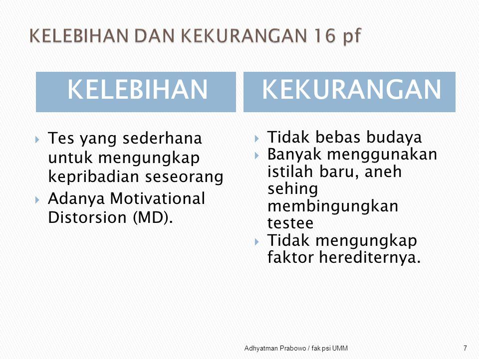 KELEBIHANKEKURANGAN  Tes yang sederhana untuk mengungkap kepribadian seseorang  Adanya Motivational Distorsion (MD).