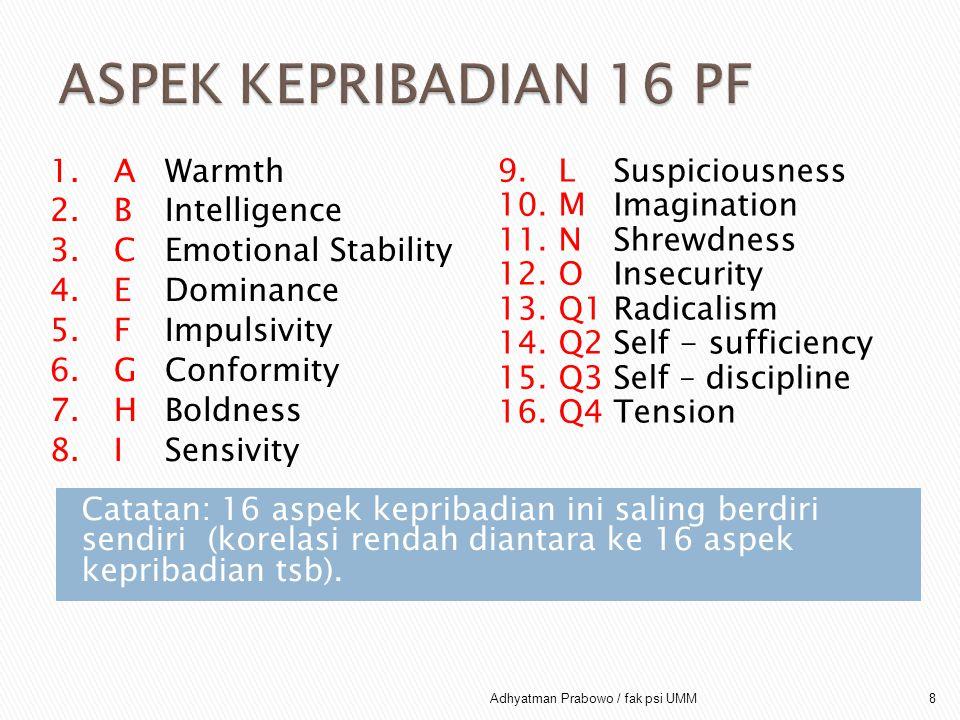 1.AWarmth 2.BIntelligence 3.CEmotional Stability 4.EDominance 5.FImpulsivity 6.G Conformity 7.HBoldness 8.ISensivity 9. L Suspiciousness 10. M Imagina