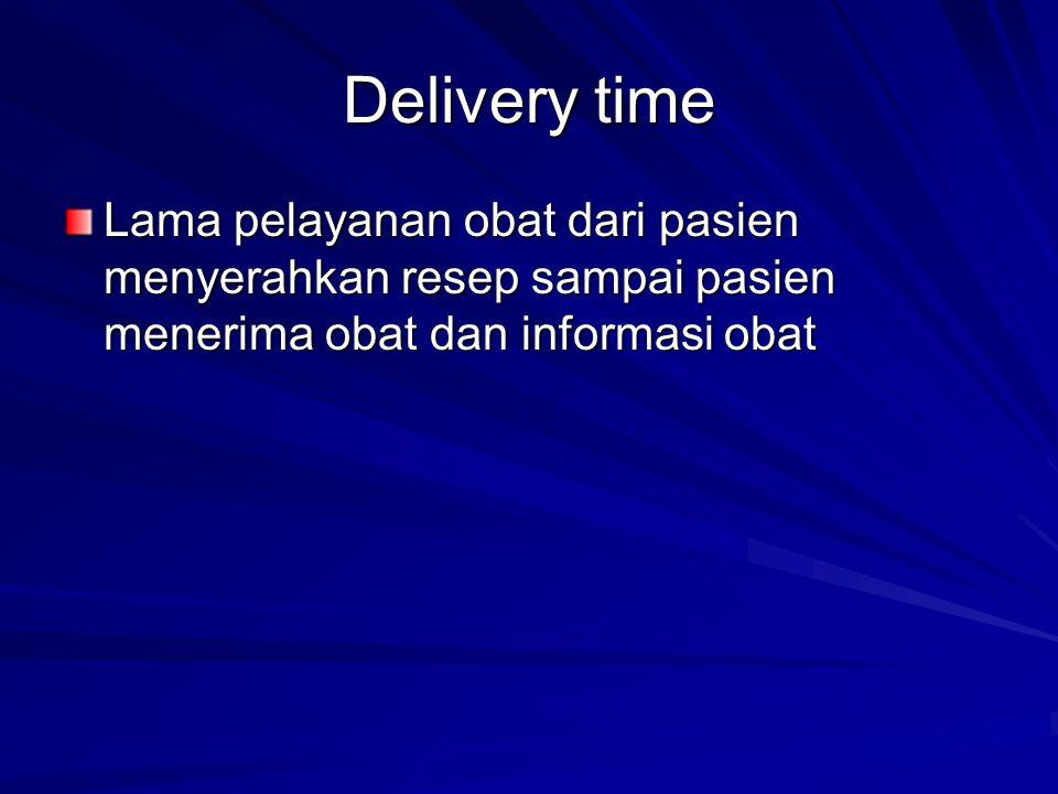 Delivery time Lama pelayanan obat dari pasien menyerahkan resep sampai pasien menerima obat dan informasi obat