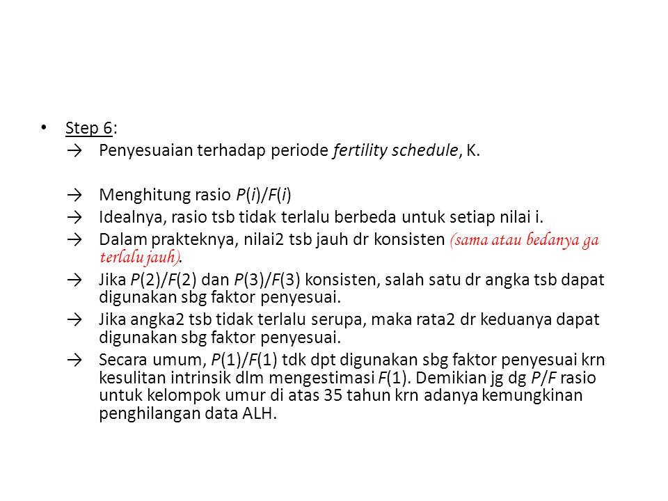 Step 6: →Penyesuaian terhadap periode fertility schedule, K. →Menghitung rasio P(i)/F(i) →Idealnya, rasio tsb tidak terlalu berbeda untuk setiap nilai
