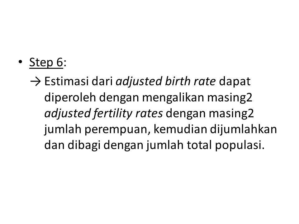 Step 6: →Estimasi dari adjusted birth rate dapat diperoleh dengan mengalikan masing2 adjusted fertility rates dengan masing2 jumlah perempuan, kemudia