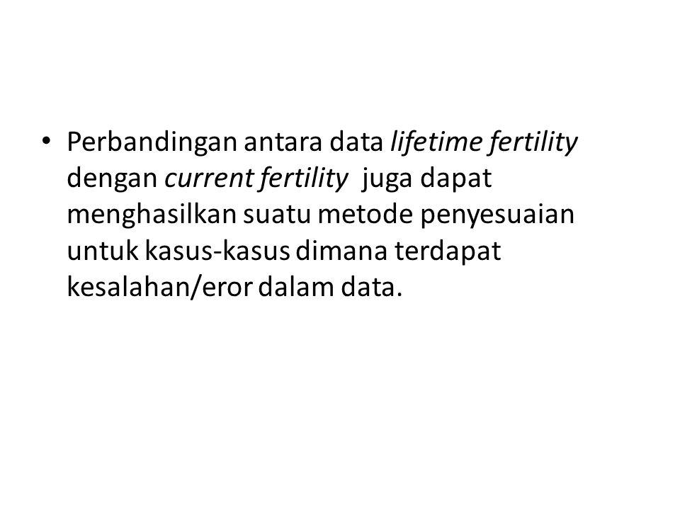 Untuk menghasilkan estimasi dari actual current fertility yang lebih baik, cumulated current fertility dapat dibandingkan dengan reported lifetime fertility dari perempuan yang berumur lebih muda dari 30-35 tahun untuk dijadikan sebagai faktor penyesuai untuk current fertility rates.