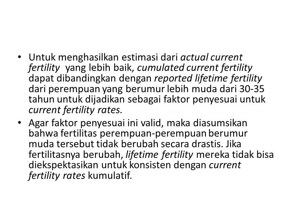 Untuk data yang dikelompokkan (misal: 5 tahunan) →Current fertility rates kumulatif merupakan estimasi dari rata-rata ALH dari perempuan yang umurnya telah mencapai batas akhir dari umur tiap-tiap kelompok.