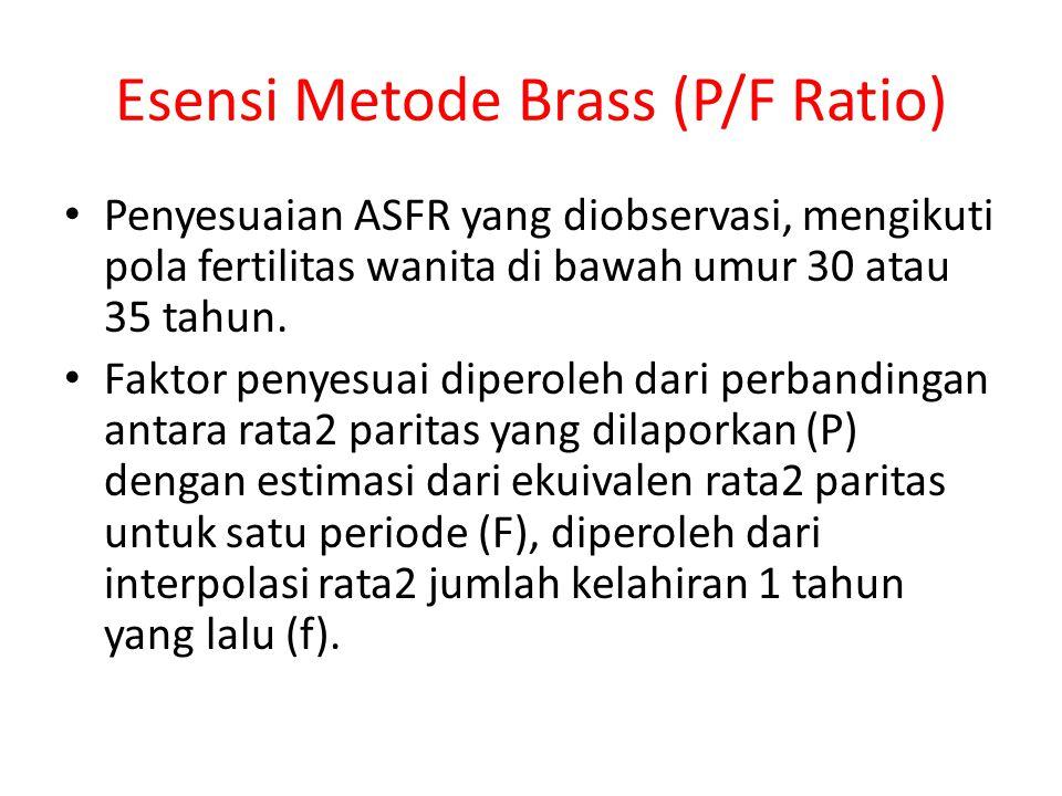 Esensi Metode Brass (P/F Ratio) Penyesuaian ASFR yang diobservasi, mengikuti pola fertilitas wanita di bawah umur 30 atau 35 tahun. Faktor penyesuai d